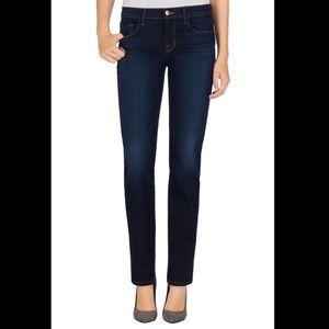 J Brand Dark Wash Mid Rise Straight Leg Jeans